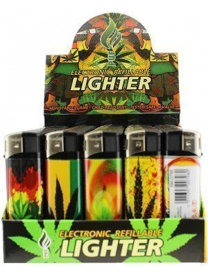 Wholesale PUF Electronic Refillable Lighter Rasta Leaves Design - Assorted