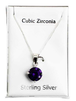 Wholesale Sterling Silver Claw Set Pendant with Crystal - Purple (8mm)