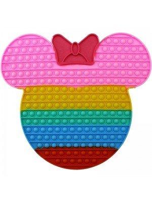 Wholesale Push & Pop Bubble Rainbow Fidget Toy - Jumbo Glitter Bow Face