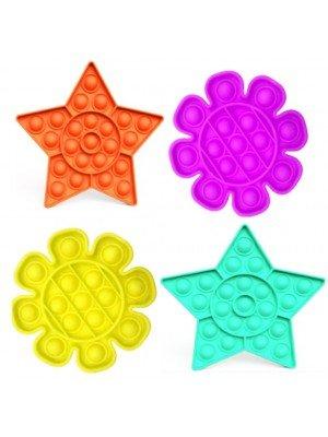 Push Pop It Bubble Sensory Fidget Stress Reliever Toy - Flower & Star Shape