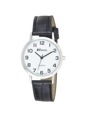 Ravel Men's Polished Round Leather Watch - Black