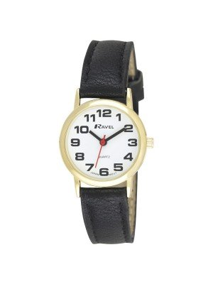 Ravel Ladies Classic Leather Watch Strap - Black & Gold
