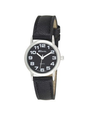 Ravel Ladies Round Polished Watch - Black & Silver