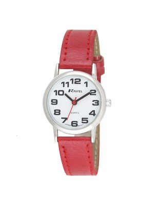 Ravel Ladies Classic Strap Watch - Red