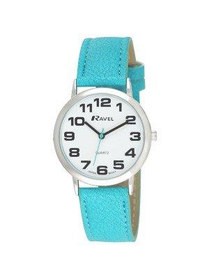 Ravel Ladies Round Polished Watch - Turquoise