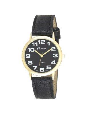 Ravel Men's Classic Watch Strap - Black & Gold