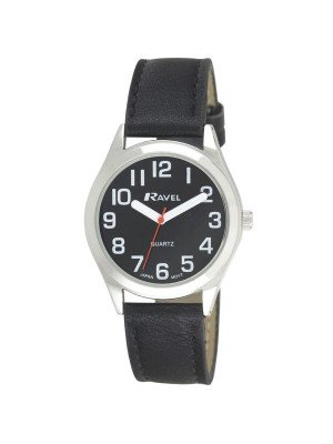 Ravel Men's Classic Retro Style Round Watch - Black & Silver
