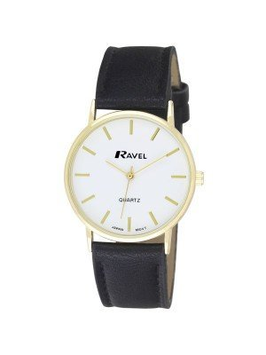 Ravel Gents Classic Strap Watch - Black / Gold / White