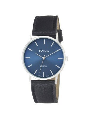 Ravel Gents Classic Strap Watch - Black / Silver / Blue