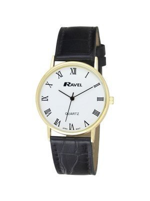 Ravel Gents Classic Strap Watch With Roman Numerals - Black & Gold