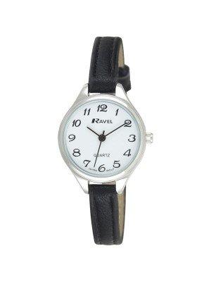 Ravel Ladies Polished Round Watch - Black & Silver