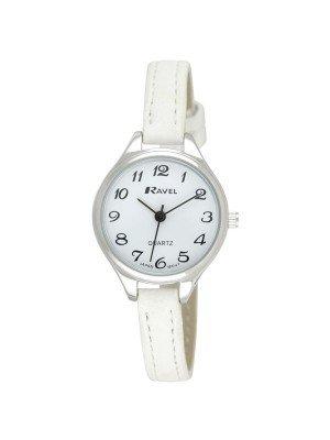 Ravel Ladies Polished Round Watch - White & Silver