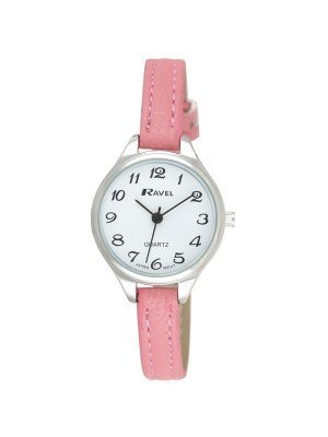 Ravel Ladies Polished Round Watch - Pink & Silver