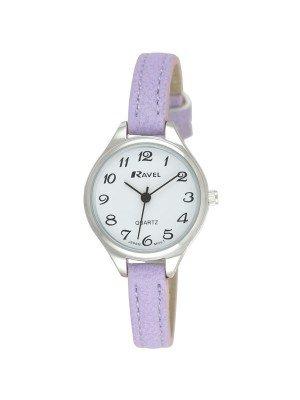 Ravel Ladies Polished Round Watch - Purple & Silver