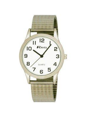Ravel Gents Retro Style Expander Bracelet Watch - Silver
