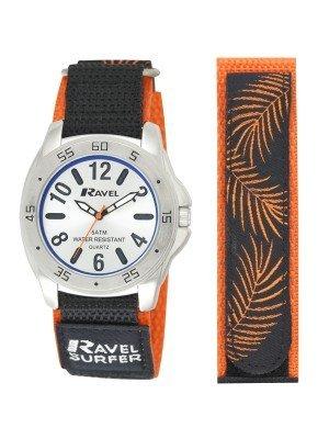Ravel Boys Velcro Surfer Watch - Orange & Silver