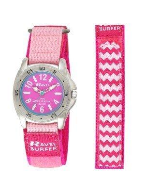 Ravel Girls Velcro Surfer Watch - Hot Pink & Silver