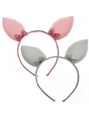 Rabbit Ears with Crystal bows on a Aliceband