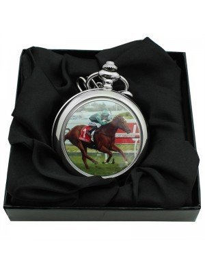 Racing Horse Pocket Watch with Chain - Silver