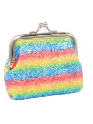 Wholesale Rainbow Glitter Sequin Clasp Purse-9x7cm