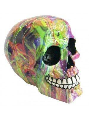 Wholesale Rainbow Marble Effect Skull Ornament - 14cm