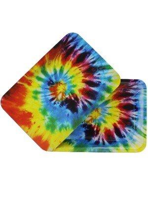 Wholesale Rainbow Splash Metal Rolling Tray With Magnetic Lid - Mini (18 x 12.5 cm)