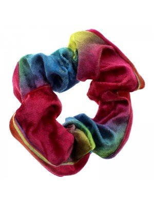 Rainbow Velvet Scrunchie