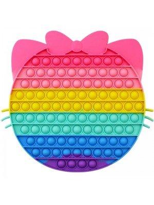 Wholesale Push & Pop Bubble Rainbow Fidget Toy - Small Bow Face
