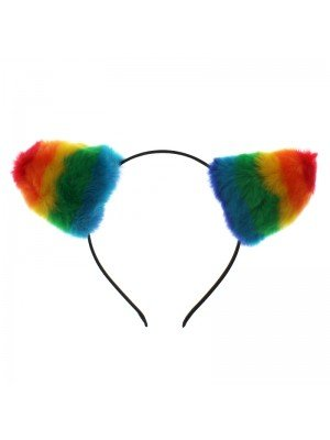 Rainbow Coloured Bunny Ears Headband