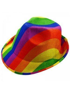 Rainbow Print Trilby Hat