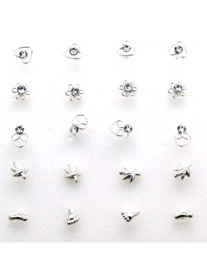 Wholesale Crystal Clear Gemset Nose Studs Assorted Sizes-3.5mm