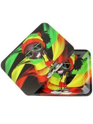Wholesale Rasta Man Metal Rolling Tray With Magnetic Lid - Mini (18 x 12.5 cm)