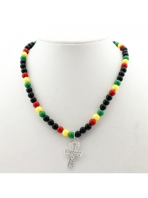 Rasta Beaded Necklace - Egyptian Cross