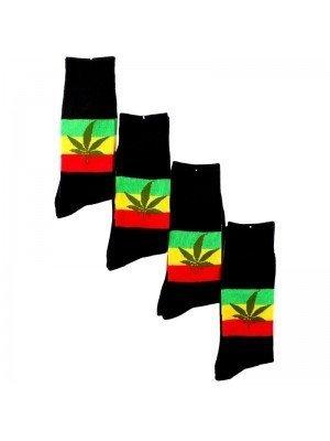 Wholesale Leaf Print Design Socks - Black
