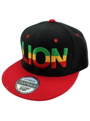 Rasta Lion of Judah Snapback - Black & Red