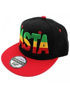 Rasta Print with Rasta Colours Snapback - Black & Red