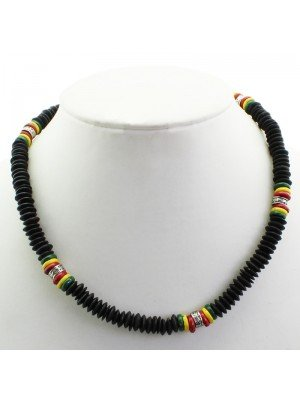 Rasta Theme Necklace with Metal Engraved Pattern - Black (Thick)