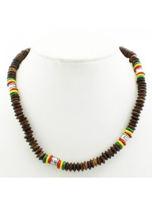 Rasta Theme Necklace with Metal Engraved Pattern - Brown (Thick)