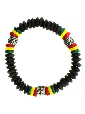 Rasta Themed Bracelets - Rasta Colours With Silver Bead