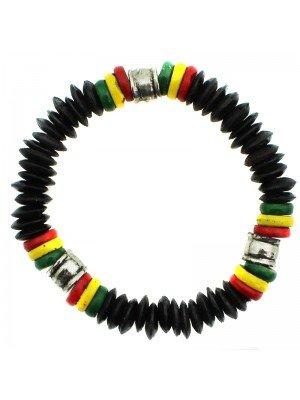 Rasta Themed Bracelets - Rasta Colours With Silver Plain Bead