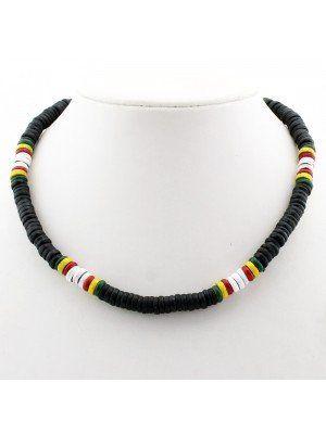 Rasta Themed Necklace - White & Rasta Coloured Beads