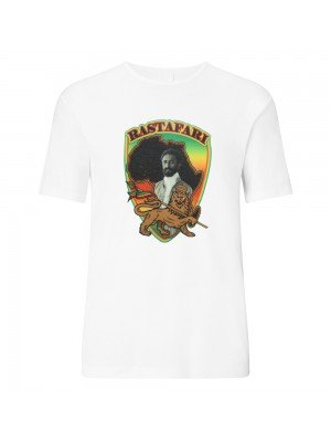 Rastafari Haile Selassie Africa Print White T-Shirt