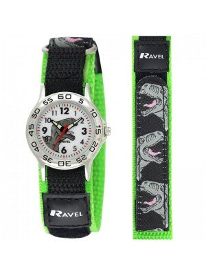 Wholesale Ravel Boys Dinosaur Design Velcro Strap Watch - Black & Green