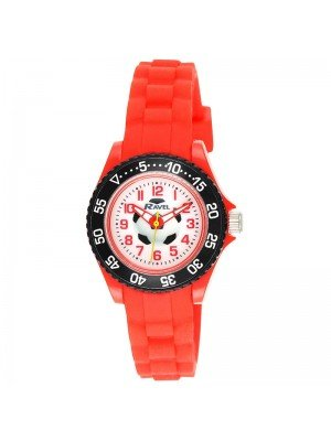 Wholesale Ravel Boys Football Design Silicone Strap Watch - Red