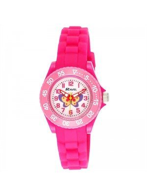Wholesale Ravel Girls Butterfly Design Silicone Strap Watch - Pink