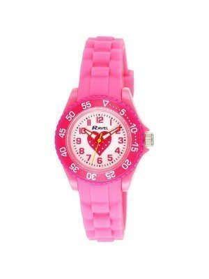 Wholesale Ravel Girls Heart Design Silicone Strap Watch - Light Pink