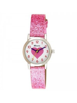 Wholesale Ravel Girls Heart Design Sparkle Glitter Watch - Baby Pink