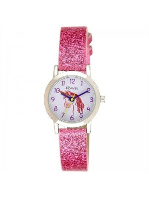 Wholesale Ravel Girls Unicorn Design Sparkle Glitter Watch - Pink