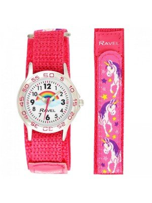 Wholesale Ravel Girls Unicorn Design Velcro Strap Watch - Hot Pink