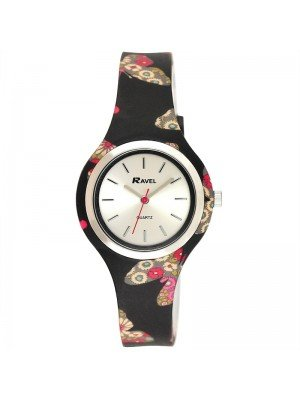 Wholesale Ravel Ladies Butterfly Print Silicone Strap Watch - Black/Pink